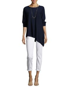 -71SH Eileen Fisher  Asymmetric Featherweight Cashmere Tunic