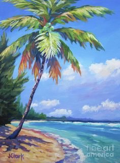 Seascape Paintings, Oil Painting Abstract, Landscape Paintings, Palm Tree Paintings, Beach Paintings, Palm Tree Drawing, Palm Tree Art, Palm Trees Beach, Watercolor Trees