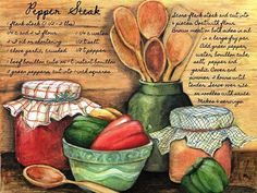 Solve Pepper Steak jigsaw puzzle online with 221 pieces Vintage Labels, Vintage Cards, Food Illustrations, Illustration Art, Pintura Country, Decoupage Vintage, Kitchen Art, Kitchen Prints, Country Primitive