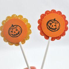 OOAK Set of 12 Halloween Cupcake Toppers - Pumpkin Halloween Decorations - Halloween Party Decor - Orange and Yellow