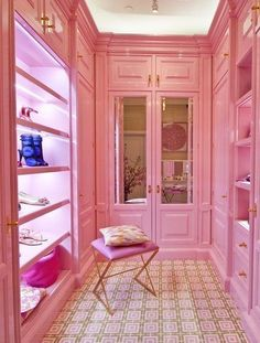 The cabinetry and the concept, *not* the decor or the color! || Pink walk-in closet.