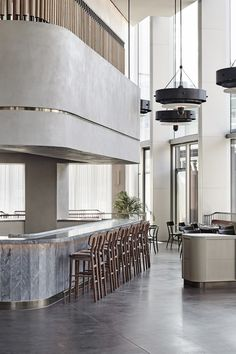 The Stratford has opened with interiors, bespoke furniture and accessories by Danish design studio Space Copenhagen. The Stratford is a hotel located. Copenhagen Hotel, Space Copenhagen, Bar Counter Design, Bar Restaurant, Hotel Kitchen, Restaurants, Cafe Design, Design Design, Design Trends