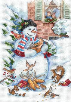 Gold Collection Petite Snowman & Friends Counted Cross Stitc-5 X7