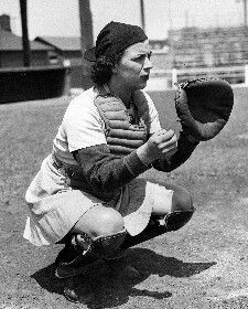 Dorothy Maguire, member of the Girls Professional Baseball League established during World War II when most of the men in the major and minor leagues were at war. Kalamazoo, Michigan, had a team during this period - the Lassies.