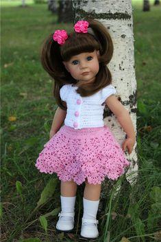 Crochet Toddler Dress, Crochet Doll Dress, Crochet Doll Clothes, Sewing Dolls, Knitted Dolls, Crochet For Kids, American Doll Clothes, Ag Doll Clothes, Doll Clothes Patterns