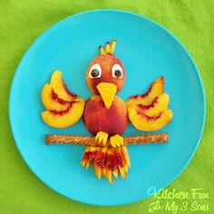 Kitchen Fun With My 3 Sons: Fun Fruit: Peachy Parrot: marshmallows and chocolate chips for eyes