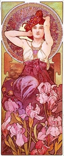 Alphonse Mucha: Amethyst/ L'Amethyste A beautiful Art Nouveau Lady. Alfons Maria Mucha, often known in English and French as Alphonse Mucha, wa. Art Nouveau Mucha, Alphonse Mucha Art, Art Nouveau Poster, Mucha Artist, Art And Illustration, Art Et Architecture, Illustrator, Jugendstil Design, Ouvrages D'art