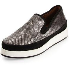 Donald J Pliner Mickey Metallic Sneaker Loafer Platform Slip On Sneakers, Leather Slip On Shoes, Platform Shoes, Leather Sneakers, Shoes Sneakers, Snake Skin Shoes, Metallic Sneakers, Snake Print, My Style