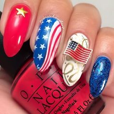 patrioticnails.quenalbertini: July 4th Nail Art Design by @reireishnailart Instagram profile | Pikore