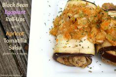 Black Bean Eggplant Roll-Ups with Apricot Tomatilla Salsa | Strength and Sunshine #glutenfree #vegan