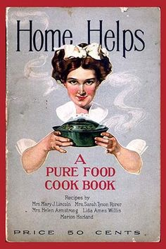 A pure food cook book.. High quality vintage art reproduction by Buyenlarge. One of many rare and wonderful images brought forward in time. I hope they bring you pleasure each and every time you look