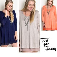 """💥HOST PICK 1/4💥TOO CUTE A-LINE TUNIC! Adorable layered A-Line tunic in TAUPE, ORANGE or NAVY! Scoop neck, roomy. Polyester, rayon, spandex.                                        ♦️XL: BUST 44""""                                                              ♦️1X: BUST 46"""" tla2 Tops Tunics"""