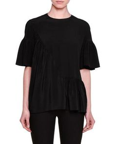 STELLA MCCARTNEY Short-Sleeve Gathered-Ruffle Top, Jazzberry. #stellamccartney #cloth #