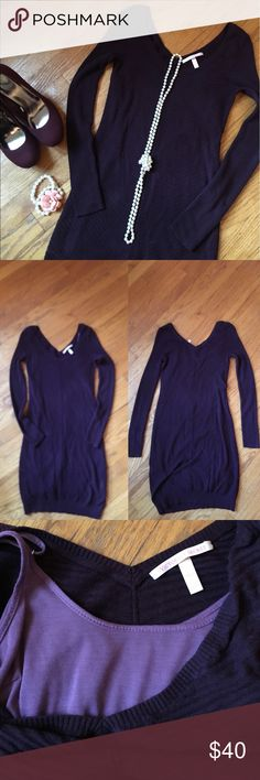 VS purple stretchy knit v neck sweater dress XS In great condition VS long sleeve knit v neck  sweater dress. Body con stretchy dress with thin strapped light purple underlay attached (can be removed with small snap buttons inside of dress near shoulders ) the underlay is the total length of the dress and is not as stretchy as the actual dress. Size XS approx 34 inches laying flat from shoulder to hem. Victoria's Secret Dresses Long Sleeve