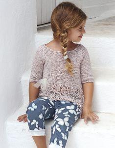 Book Kids 81 Spring / Summer   16: Kids Sweater   Mauve Knitting Patterns Free, Free Knitting, Baby Knitting, Crochet Baby, Knit Crochet, Summer Kids, Spring Summer, Knitting For Kids, Cropped Sweater