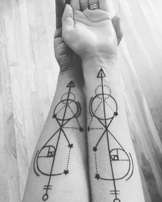 Geometric Golden Ratio Couple Forearm Tattoo.