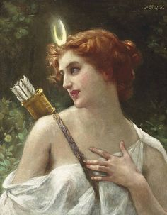 Guillaume Seignac - Diana the Huntress - paintings of Diana (Artemis) - Wikimedia Commons Artemis Goddess, Moon Goddess, Artemis Art, Greek Goddess Art, Renaissance Kunst, Renaissance Paintings, Potnia Theron, Classic Paintings, Greek Paintings