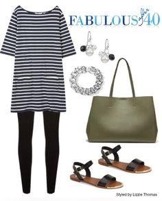 Sporty stripes with leggings | Fabulous After 40