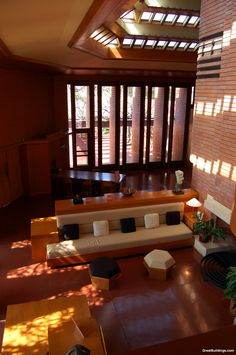 Living Room - Wingspread by Frank Lloyd Wright, at Wind Point, Wisconsin, 1937.