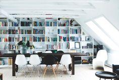 sloped wall bookshelves
