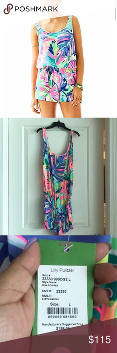 NWT Lilly Pulitzer Rina Romper NWT Lilly Pulitzer multicolor silk romper with elastic waistband and ribbon tie Lilly Pulitzer Other