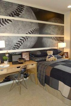 chambre a coucher beige, idee deco murale, papier peint chambre ado garcon
