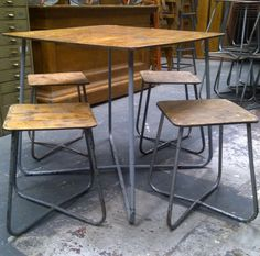 CIRCA 1950 UKRAINIAN ARMY TABLES & STOOLS
