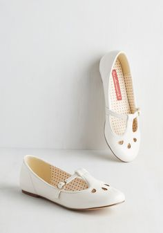 Of Gait Importance Flat in Cloud by Bait Footwear - Flat, Faux Leather, White, Solid, Cutout, Casual, Vintage Inspired, 20s, Scholastic/Collegiate, Spring, Better, Mary Jane, Variation