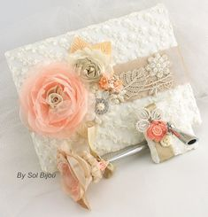 Wedding Guest Book and Pen Set Signature Book in Ivory, Blush, Peach, Coral and Champagne with Lace and Pearls on Etsy, $130.00