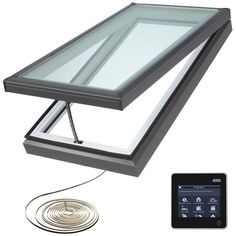 VELUX 22-1/2 in. x 46-1/2 in. Fresh Air Electric Venting Curb-Mount Skylight with Laminated Low-E3 Glass, Grays