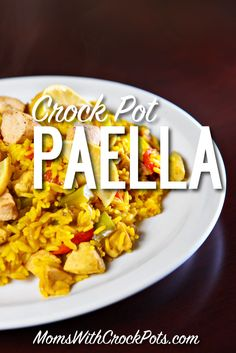 Crockpot Paella Great date night dinner This Crock Pot Paella Recipe is simple to throw together and full of rich savory flavors It s a hit everytime Crock Pot Slow Cooker, Crock Pot Cooking, Slow Cooker Recipes, Crockpot Recipes, Cooking Recipes, Crockpot Dishes, Soup Recipes, Night Dinner Recipes, Gourmet