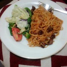 My dinner menu,spaghetti bolognese