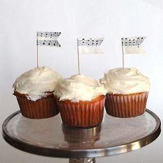 Sheet Music Cupcake Flags #vintage