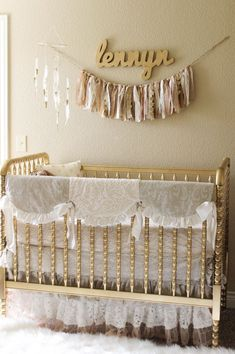 Gold Nursery with Lace Crib Bedding - we're loving the Granny Chic look in this glam nursery!