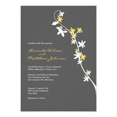 modern wedding invite invitation engagement grey yellow white flowers