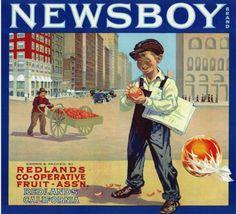 Redlands, California, Newsboy Brand Citrus Label