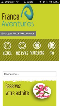 Conception/création du site Internet full responsive. Client : France Aventures. www.france-aventures.com