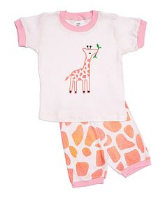Look at this Pink Giraffe Pajama Set - Infant, Toddler & Girls on #zulily today!
