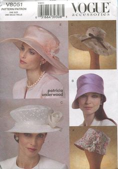 Must make sure I don't end up with the white one- Vogue 8051 Patricia Underwood Brim Hat Accessories 2005 OOP
