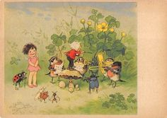 Alte AK col. Künstlerkarte Fritz Baumgarten / Musikalische Tiere u. Elfe | eBay