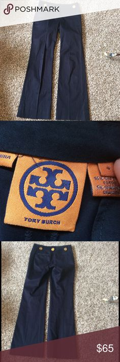 Tory burch pants Amazing navy trousers with gold buttons! Great condition Tory Burch Pants