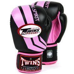 FBGV-43 Twins Black-Pink Stripe Boxing Gloves