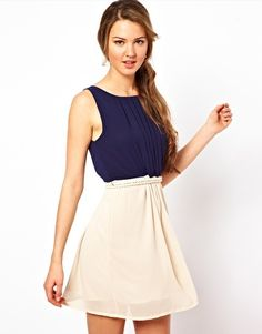 Club L Color Block Dress With Rope Tie