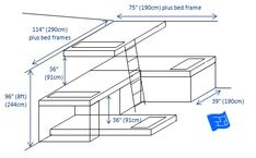 A built in bunk bed design for 4 beds - looking at the ideas here there's lots of possibilities.  Click through to the website for more discussion.