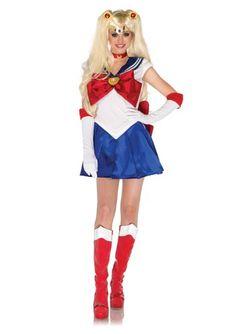 Leg Avenue Costumes 5Pc.Sailor Moon Dress Choker Gloves Headpiece Hair Clips, White/Blue, Medium from Amazon