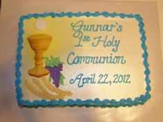 Gunnar's communion - small sheet cake, all buttercream, sugar mold of chalice and host Communion Favors, Communion Dresses, First Holy Communion Cake, Religious Cakes, Sugar Mold, Cakes For Boys, Cupcake Cakes, Cupcakes, Party Time