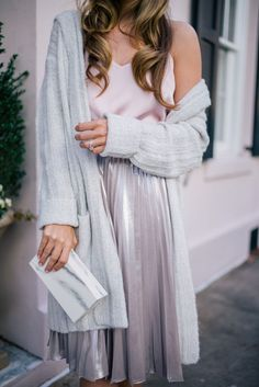 Gal Meets Glam Silver & Blush -Express sweater, tank & skirt c/o & L'Afshar Clutch
