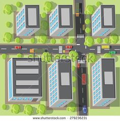 Crossroads in the town. Top view. Vector illustration.