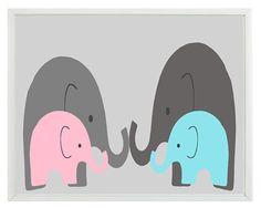 Elephant Nursery Print  Twins Art Mom Dad Babies by RizzleandRugee