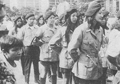 "The Brown Berets at the ""blowouts"" or high school walk outs, 1968.  By the late 1960s Mexican American students throughout the Southwestern United States had a high school dropout rate of 60%. Due to the low graduation rate and other inequalities in education, Chicano youth staged the 1968 East Los Angeles Walkouts, also known as the ""Blowouts."" — at East LA, Los Angeles, California."